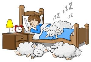 Mann und seine Schfchen schlafen ein