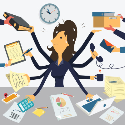 Very busy businesswoman