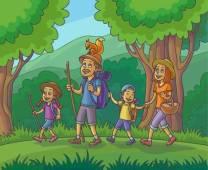 60904375-gelukkige-familie-is-wandelen-in-het-bos-vector-illustratie-
